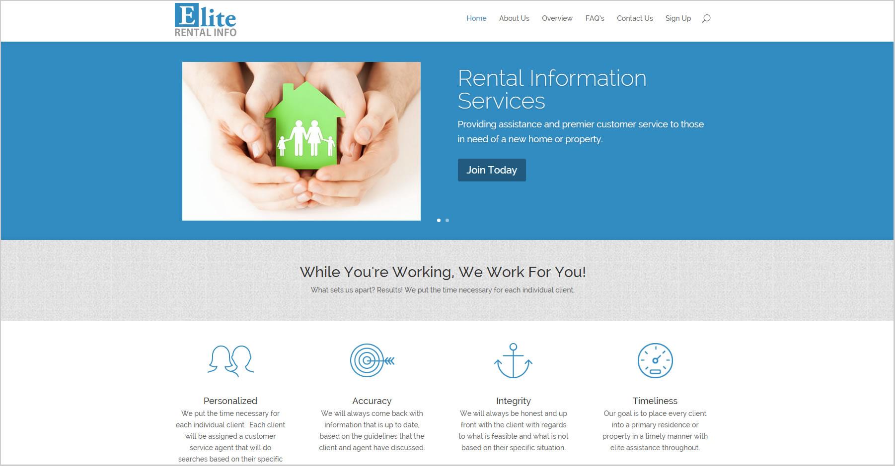 Website Design For Elite Rental Info Services By