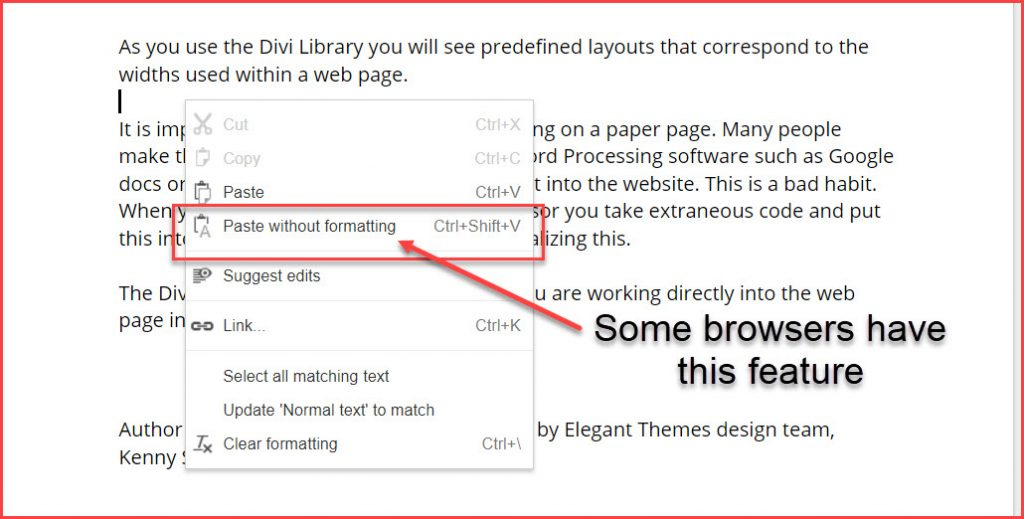 browser feature paste without formatting
