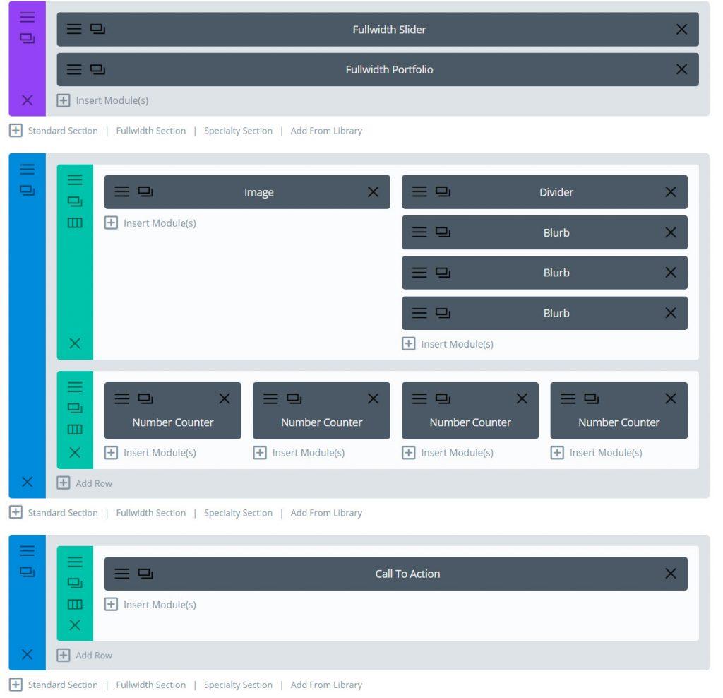 homepage portfolio layout