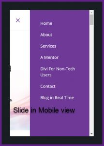 Slide in menu on mobile view